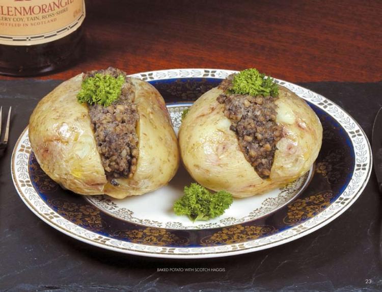 baked potato with scotch haggis