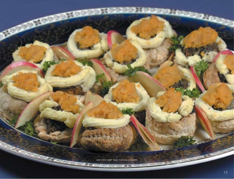 ground beef and haggis canapes