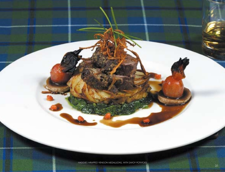 haggis wrapped venison medallions with savoy potatoes